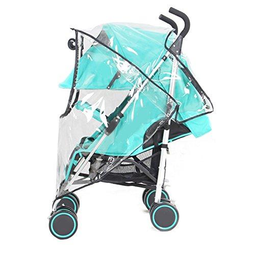 Gosear® Bébé Poussette Transparent Couvercle Étanche à la Pluie avec Fermeture Éclair Universel Double PVC