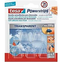 tesa Powerstrips Deco-Haken, transparent, für max. 200g, Packung mit 5 Haken