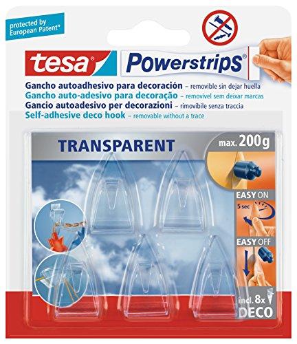 tesa Powerstrips Deco-Haken, transparent, für max. 200g, Packung mit 5 Haken (Fallen Vorhang Wieder)