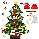 Smart Nice 37 Pcs Fieltro Árbol de Navidad,3.28ft DIY Fieltro Adornos Manualidades la Pared con 50 LED Luces de Navidad Ornamentos Desmontables Arbol de Fieltro con Gorro navideño para Niños