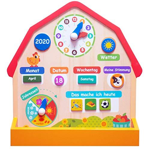 Bunte Holz Lernuhr / Lerntafel mit Kalender - Uhrzeit lernen und Zusätzlich das Wetter, Datum, Wochentage - Ideal für Kinder ab 4 Jahren oder Vorschule / Grundschule geeigent