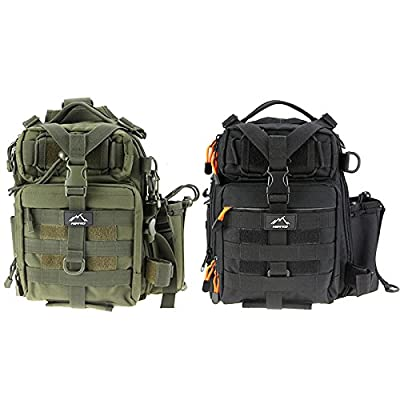 HETTO Fly Fishing Sling Bags Tactical Chest Pack Molle Shoulder Waterproof Rucksack Single Strap Military Backpacks for Hiking Trekking for Men Women Green Black Camouflage Khaki by Weihai Letu CO.,LTD