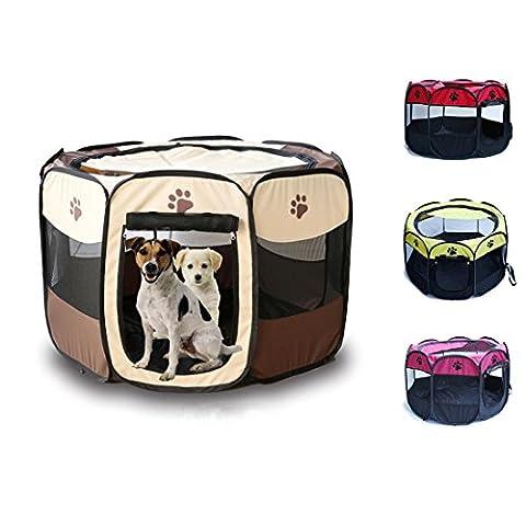 Puppy Kitten Falten Zelt, Laufstall für kleine Katze Hund, Oxford Zaun für Indoor Outdoor Wandern Reisen , rose , m