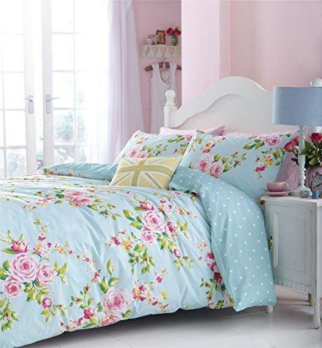 rosa blau Rosen Blumen Baumwollmischung Doppel Wende 2-tlg Bettwäsche Set Bettdecke Überzug und uni Entenei blau passendes Leintuch