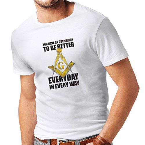 Männer T-Shirt Um jeden Tag besser zu sein Masonic G Mason Freimaurer Winkel und Zirkel (XXX-Large Weiß (Winkel Kostüme Dunkle)