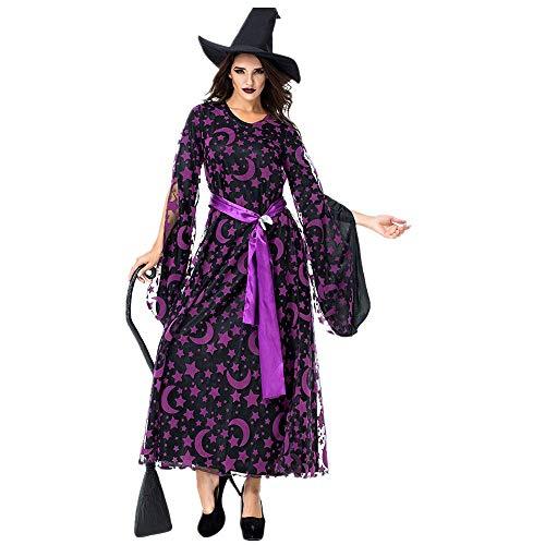 Battnot Damen Cosplay Kleider Magische Hexe Kleid Gothic Vintage Halloween Party, Frauen Stern Monat Druck Maxi Kleid+Hut+Gürtel 3-teiliges Set Outfits Festlich Kostüme Kleidung Womens Cosplay Dress (3 Teiliges Krankenschwester Outfit Kostüm)