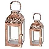 Mojawo Set di 2 Lanterne da Giardino, in Acciaio Inox Color Oro Rosa/Rame, Altezza 35/46 cm, Design Elegante