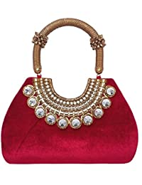 Exotic Collections, Hand Held Bag, Maroon Color, Brass And Beautiful Stone Work, Single Handel, Hand Held Bag...