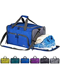 CoCoMall Foldable Sports Gym Bag with Shoes Compartment & Wet Pocket, 45L Travel Duffel Bag for Men and Women