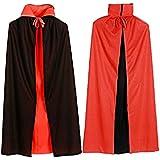 BEETEST Vampiro Dracula capa cabo para mujeres Halloween Disfraces 120cm largo negro rojo reversible