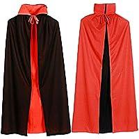 Vococal - 120cm Largo Vampiro Dracula Capa / Capa de Tippet con Estilo de Negro Rojo Reversible para las Mujeres Halloween Fiesta Disfraces Cosplay Accesorios