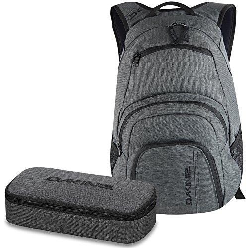 DAKINE 2er SET Laptop Rucksack CAMPUS SM + SCHOOL CASE Mäppchen Carbon