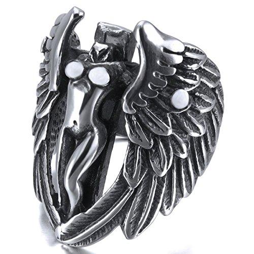 MunkiMix Groß Edelstahl Ring Band Silber Ton Schwarz Kruzifix Kreuz Engel Flügel Engelsflügel Hochzeit Größe 60 (19.1) Herren