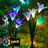 Solarleuchte Garten, Swonuk 2 Stück Solar Garten Lampen 4 Kopf Lilien Blumen Solarlicht mit Farbwechsel LED Lampen für den Garten/Rasen/Feld/Terrasse/Weg