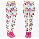 BStrongplus Women Stretchable Printed Yoga Pant, Sports Gym Running Workout Leggings Tights (Pink Multicolour, Free Size)