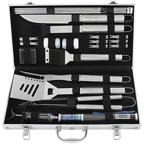 Grilljoy set di utensili per grill, accessori per barbecue in acciaio inossidabile 24 pezzi in custodia di alluminio, set completo di utensili da barbecue per esterni, regalo perfetto