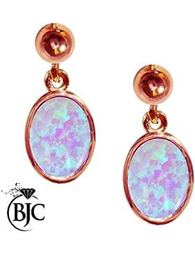 BJC® 9ct Rose Gold Zuchtperlen Opal 3,00CT Oval einzigen Tropfen Dangling Ohrstecker Marke Neu Mit Geschenk-Box