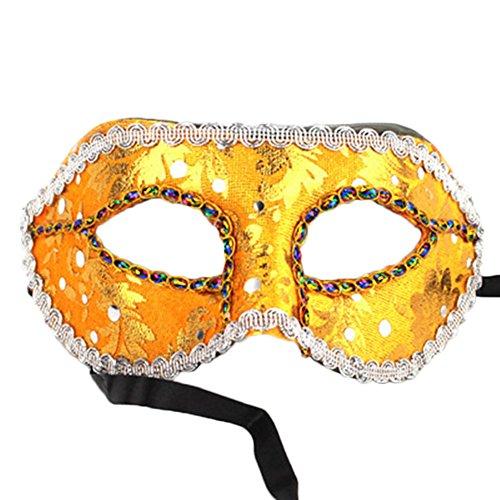 Cdet 1x Maske Männer Spitze Augen Maske Masquerade Mask für Halloween Maskentanzabend Party Foto Zubehör (Gold)