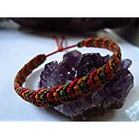 Bracelet brésilien/amitié/bijoux en fil Marron camel Rouge foncé et Vert kaki tissé main en macramé