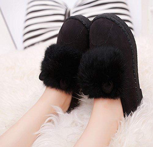 Aisun Femme Confortable Fourrées Slip On Chunky Bottines Noir