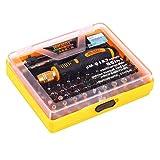 Funnyrunstore 53 in 1 Multifunktions-Präzisions-Magnet-Schraubendreher-Set mit Trox Hex Kreuz flach Multi-Bit-Pinzette Handy-Reparatur-Tool (Farbe: schwarz & orange)