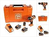 Fein 71132262000 Bohrschrauber ABS 18 QC Bohrmaschine mit bürstenlosem Motor mit universellem Akku | 2X Li-Ionen 18V 2,5Ah, 45 W, 18 V, Orange