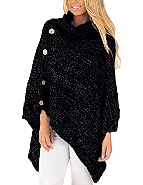 ZORE Mujer de Punto Tortuga Poncho Cuello con botón Dobladillo Irregular suéteres suéter Women Sweater
