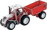 Tronico 30015 - 3D Puzzle Baukasten - Traktor Steyr CVT 6240 mit Anhänger, Maßstab 1:32, rot, 62 Teile