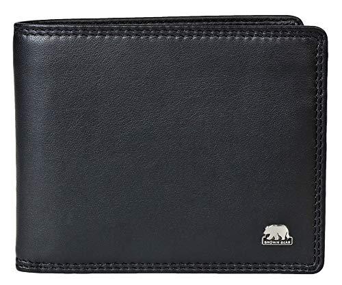 Brown Bear Geldbörse Herren Leder Schwarz Quer-Format mit RFID Schutz Business Doppelnaht hochwertig Geldbeutel Männer Portemonnaie Portmonaise Portmonee Ledergeldbeutel Ledergeldbörse