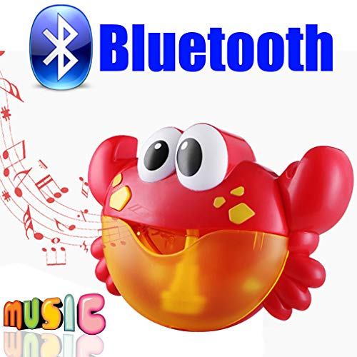 Vovotrade Bubble Machine für Kinder Automatische Auslauf Bad Bubble Blower mit Musik - Krabbe Frosch Baby Bubble Machine Song Bad Spielzeug für Baby Durable Einfach Zu Bedienen (Bluetooth Type)