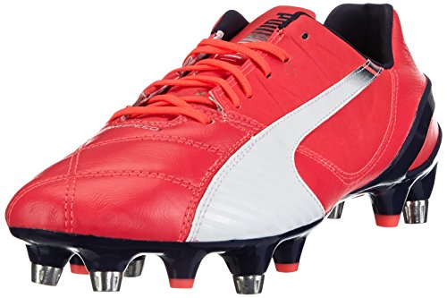 Puma  evoSPEED 1.3 Lth Mixed SG, Chaussures de football homme Rouge - Rot (bright plasma-white-peacoat 02)
