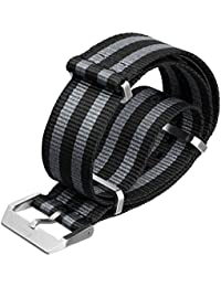 Swiss Style Nylon NATO Watch Strap, with Premium Metal Hardware, Black/Grey 5-Stripes by ZULUDIVER®, 20mm