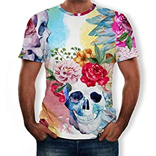 PRINCER Men's Shirts,Funny 3D Wolf Printed T-Shirt Slim Fit O Neck Tees Shirt Casual Short Sleeve T Shirt Blouse Polo Summer Shirts Tops Longline Pullover for Boys ...