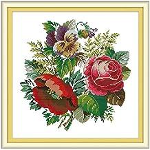 Zzqyis Ramo de rosas hecho a mano para bordar punto de cruz de 14 quilates
