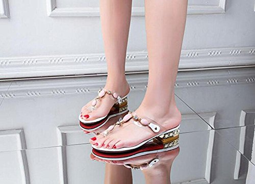 SHINIK Damen Open Toe Sandalen 2017 Summer New Flip Flops Folder Toe Transparente Film National Style Gem Bequeme Ferse Cool Slippers Pink