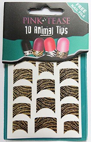 Vernis à ongles rose Tease Pointe feuilles – Lot de 10 embouts pour animaux – Zèbre Noir Doré