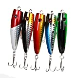#6: Rrimin 5pcs Popper Fishing Lures 5 Colors 10g Bait High Carbon Steel Hook Tackle