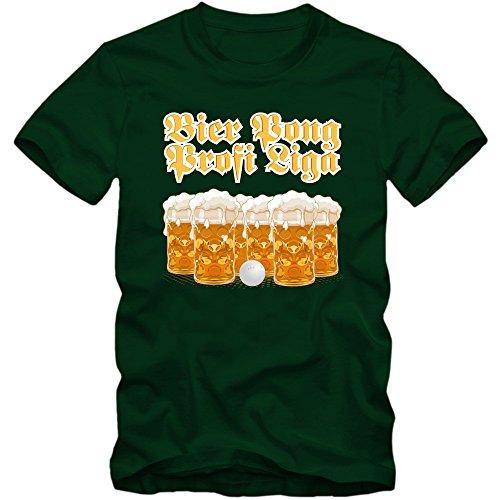 Oktoberfest Beer Pong T-Shirt |Herren | Wiesn | Bayern | Volksfest | Feiern | Spruch-Shirt |Bier | Maß | Trinkspiel, Farbe:Dunkelgrün (Bottle Green L190);Größe:S (Bier-pong-sprüche)