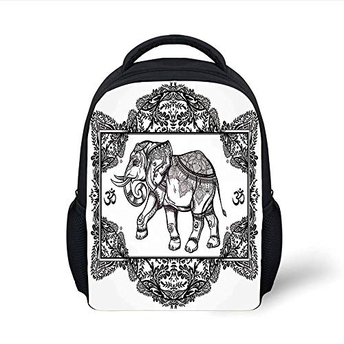 Kids School Backpack Elephants Decor,Ornate Elephant Deity in Oriental Floral Frame Spiritual Illustration Boho Design Decorative, Plain Bookbag Travel Daypack