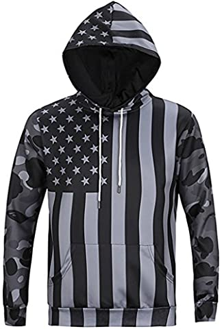 Pizoff Unisex Hip Hop sweatshirts hoodie with Paint Splatter 3D Digital Print American Flag camouflage camouflage pattern Y1760-14-M