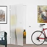 M2-709/834/959L-BB: Glasdrehtür, ESG Glas 709/834/959x1972x8mm, DIN links/rechts, Siebdruck M2, mit Beschlag inkl. Buntbartschloss (834x1972mm DIN L)