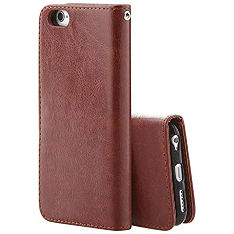 Best New Apple iphone 6s plus Case cover, Apple iPhone 6s plus Brown Designer 2-1 Multi-function Detachable Magnetic 3 Card Slots Wallet Style Wallet Case Cover
