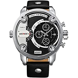 Alienwork DualTime Quartz Watch Multi Time Zones Wristwatch XXL Oversized Leather black black OS.WH-3301-1