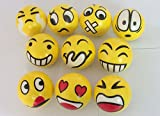 #9: Toyshine 12 Pc Emoji Stress Relief Smiley Balls, Stress Buster, Soft Ball, Yellow, Pack of 12, Birthday Return Gifts