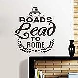 Lovemq 43 * 57 Cm Tous Les Chemins Mènent À Rome Italie Vinyle Stickers Muraux Sticker Papier Peint Pour Salon Mur Murale Art Décoration De La Maison Maison Décoration...