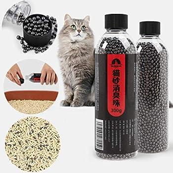ABenxxou Perles déodorantes pour litière de Chat, Adsorption sur Charbon Actif/Bactériostatique, Nettoyage de l'air, Litières et éducation pour Chats