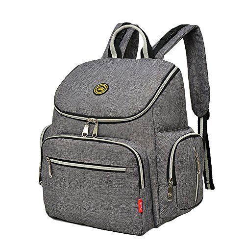 Diaper Bag Backpack with Baby Stroller Straps, Daddy Diaper Bags, Stylish Travel Designer and Organizer for Women & Men, 8 Pockets, Grey 51kIGMwinpL