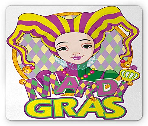 WYICPLO Mardi Gras Mouse Pad, Carnival Girl in Harlequin Costume and Hat Cartoon Fat Tuesday Theme, Standard Size Rectangle Non-Slip Rubber Mousepad, Yellow Purple Green