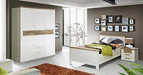 Forte Möbel Schlafzimmer Set Duro 3-TLG. Dekor Pinie weiß/Eiche Antik - Antik Weiß Schlafzimmer-set