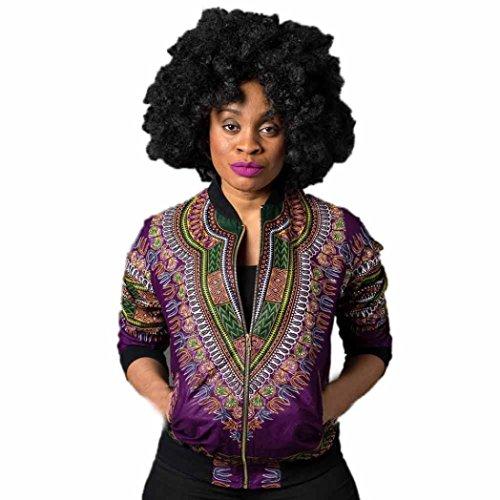 Frau Beiläufig Kurz Jacke Hirolan Lange Hülse Mode afrikanisch Drucken Dashiki Damen Dashiki Cocktailkleid Reißverschluss Jahrgang Outwear (L, Lila) - Mandarin Shirt Jacke